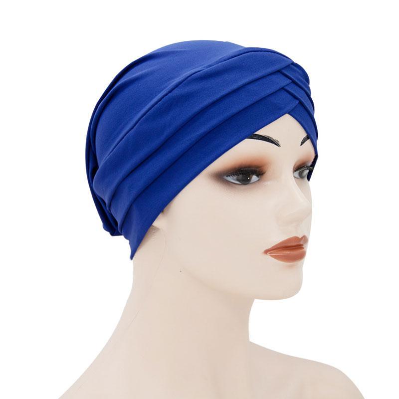 12 цветов мусульманского девушки женщин Крест Twist тюрбан хиджаб Pure Color Hat Stretch Caps Headwear аксессуары для волос