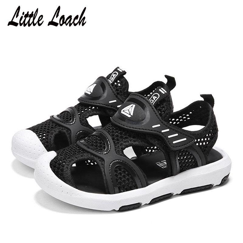Children Summer New Sandals Mesh Cut-outs Boys Girls Closed Toe Beach Shoes Size 25-38 Breathable Casual Sneakers Red Blue Black Y190525