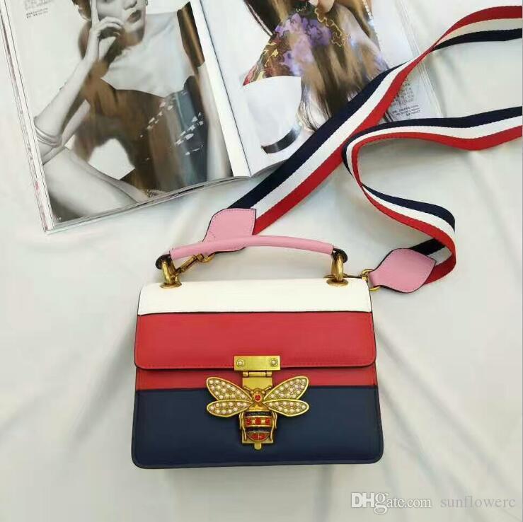 Inspiré des sacs à main en cuir Messenger mode élégante couleur de contraste simple serrure perle sac d'abeille sac en cuir femmes