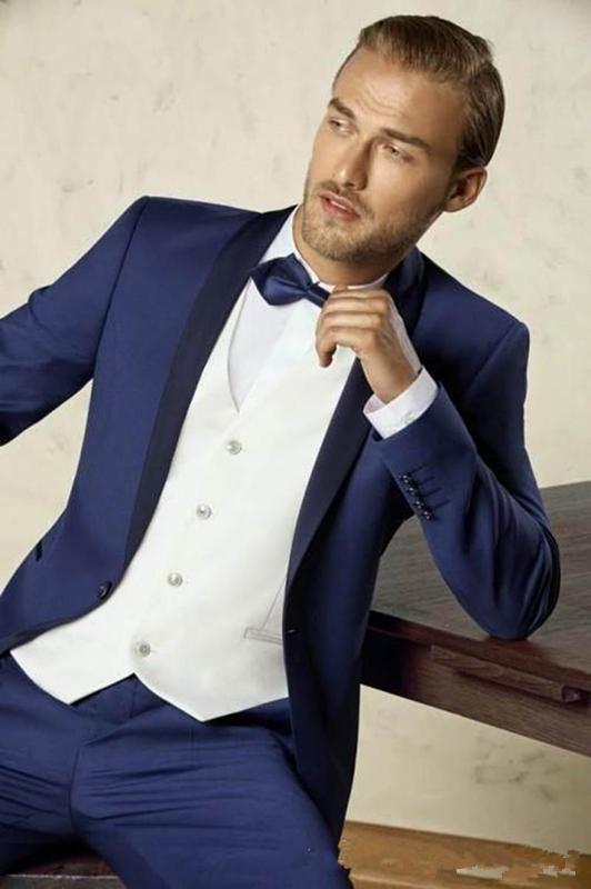 새로운 도착 원 버튼 신랑 신부 목도리 신랑 턱시도 남자 정장 웨딩 / 무도회 최고의 남자 재킷 (자켓 + 바지 + 조끼 + 넥타이) A128
