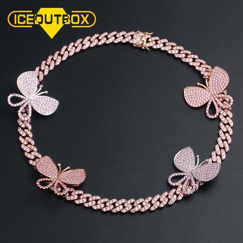 Romantic Pink Cubic Zirconia Pave Bling Ice Out Butterfly Pendants Necklace Tennis Cuban Chain For Women 16inch Hip Hop Jewelry