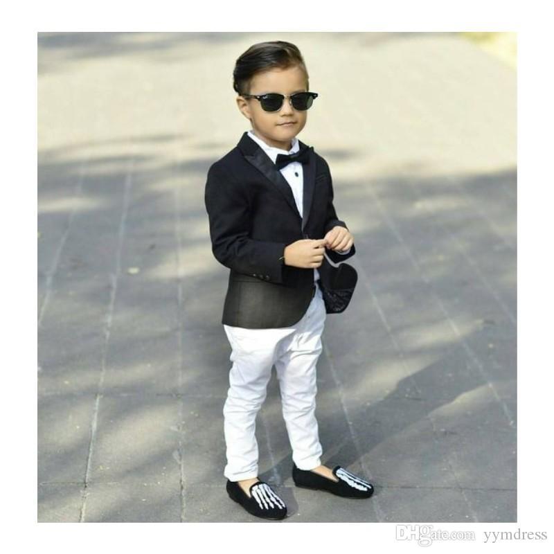 أسود بنين الدعاوى سليم بلغت ذروتها طية صدر السترة زر واحد صالح الصبي سهرة الاطفال اللباس الرسمي بدلة مجموعة (سترة + سروال + القوس)