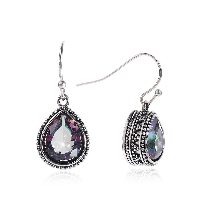 2019 Jóias Vintage 925 Sterling Silver Tibet Color Crystal Drop Dangle Earrings Para Mulheres Meninas femininas Presente do dia das mães