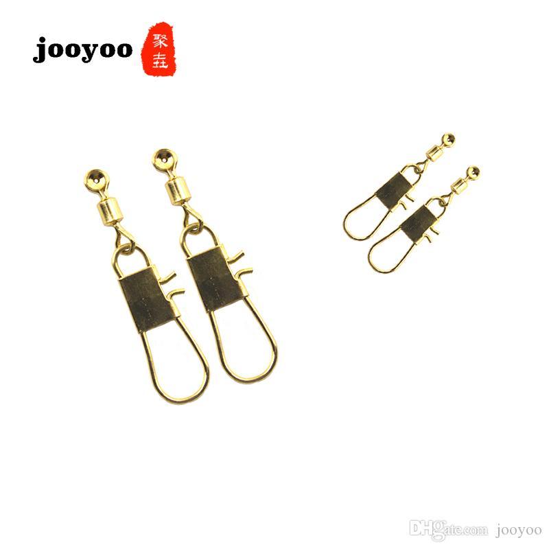 Jooyoo 10PCS Popolare di alta qualità rotante girevole con Interlock Snap Fishing Tackle Connettore girevoli da pesca Gancio Accessori