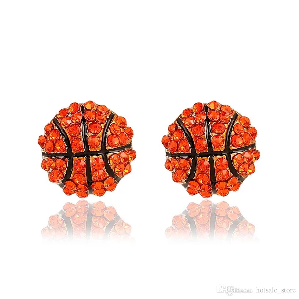 30pairs sports basketball volleyball stud earrings Bling Baseball Softball Stud Earrings Rhinestone Crystal Bling Sports Girls