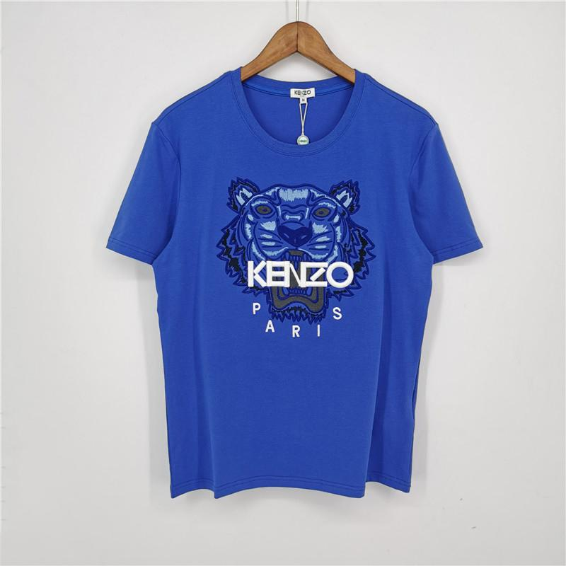 Синий цвет модный бренд мужские дизайнерские футболки девушки футболка с коротким рукавом рубашки Тигровая голова женские летние тройники высокое качество A1VBT5 2031701V