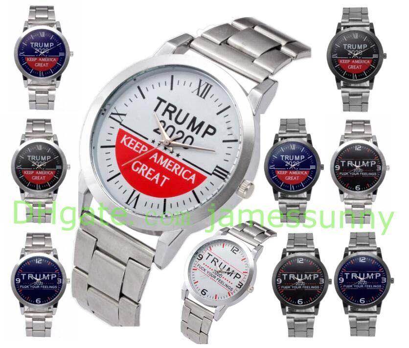 10 types Donald Trump 2020 Montres jake Quartz Montres-bracelets pour hommes Keep America Grande Lettre montre classique avec bracelet métal