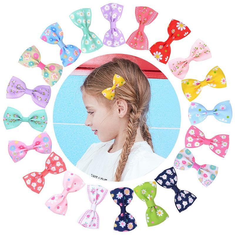 20Pcs Baby 2.7 Zoll-Blume druckte Haarschleife Hairpin Haarspangen Haarspangen für Kinder Haarschmuck Schönes Huilin C373