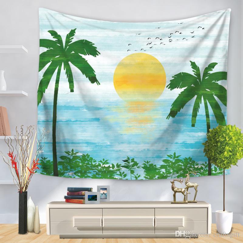 Planta Coconut Trees Imprimir Tapeçaria Wall Pendurado cobertor Toalha de praia Quarto de parede Cortina de tapete decorativa para sala de estar 150 * 130 cm