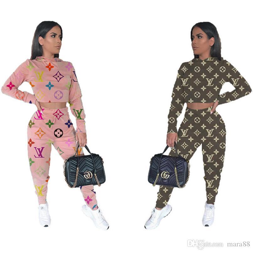 Kadınlar gündelik Eşofman Mektubun kıyafetler kukuletalı 2 parçalı set uzun kollu hoodies tozluk ince spor uyacak koşucu kış giysileri sonbahar 1546