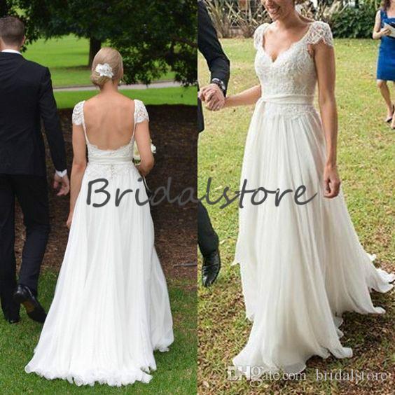 Sexy Backless Country Wedding Dresses Cap Sleeves Lace Beach Boho Wedding Dress Floor Length Chiffon Western informal reception dress 2019