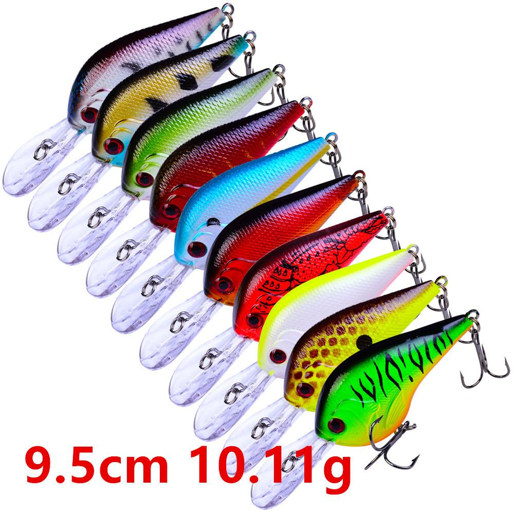 10 colori 9.5cm 10.11g Crank duri esche di plastica esche da pesca Ganci 6 # Hook Pesca Pesca Tackle Accessori WL-4