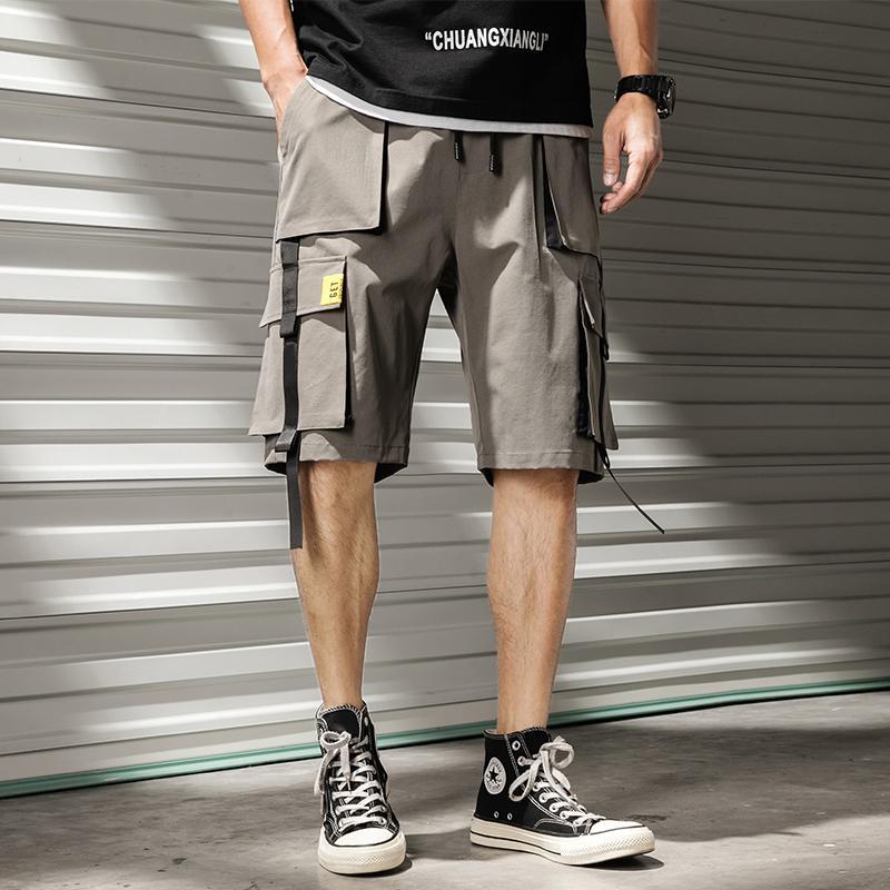 Erkekler Kargo Şort Rahat İpli Elastik Bel Casual Erkek Şort Diz Boyu Çoklu Cep Streetwear Şort Erkekler Y200511