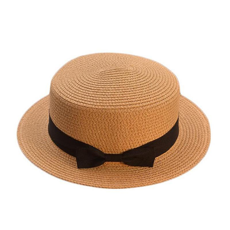2019 Simple Parent-child Cute Children Sun Hats Bow Hand Made Women Straw Beach Big Brim Hat Casual Glris Summer Cap C19041001