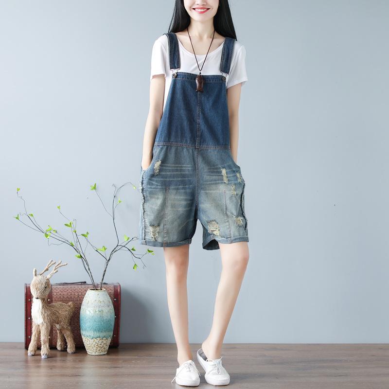 Vintage Gevşek Kadınlar playsuits ve Tulumlar Moda Günlük Kot tulumları Şort Yaz Plus Size Kadın Suspender Ripped Jeans
