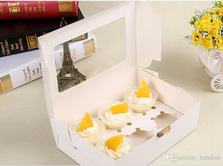 Cake Boxes Cake Holders Cupcake Box kraft Card Paper 6 Cup Muffin Dessert Portable Package Box Six Tray Gift Favor