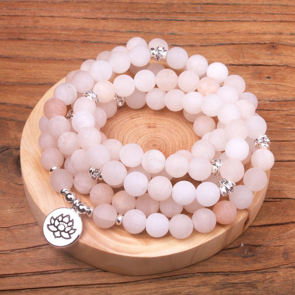 en stock 8 mm mat lumière pierre Aventurine rose avec strass femmes bracelet Stretchy 108mala perles Bouddha yoga bracelet en pierre naturelle
