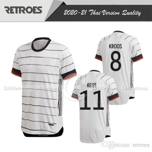 Player 버전 독일 축구 유니폼 (20) (21) 남자 # 20 GNABRY # 11 레 우스 # 8 KROOS 집 흰색 축구 셔츠 2020 축구 유니폼