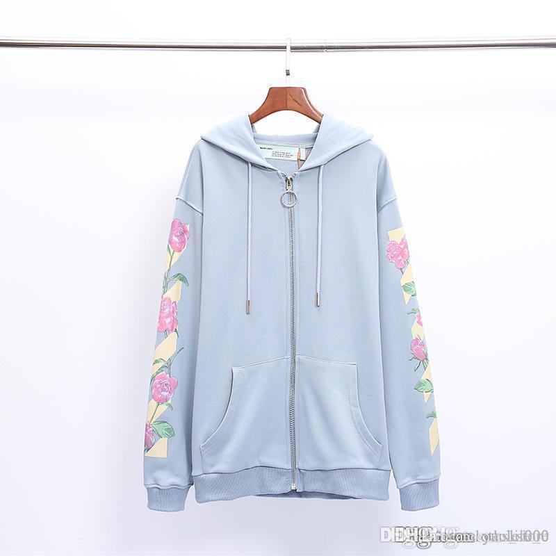 Luxury designer mens hoodies European version light blue floral print cardigan zipper jacket lovers casual hooded sweater