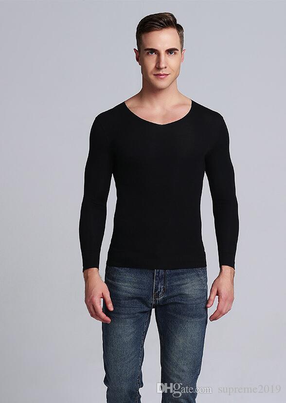 Livraison gratuite pour TopTee 2019 hommes de qualité hight Paris Fashion Week hommes 100% coton à manches longues T-shirt