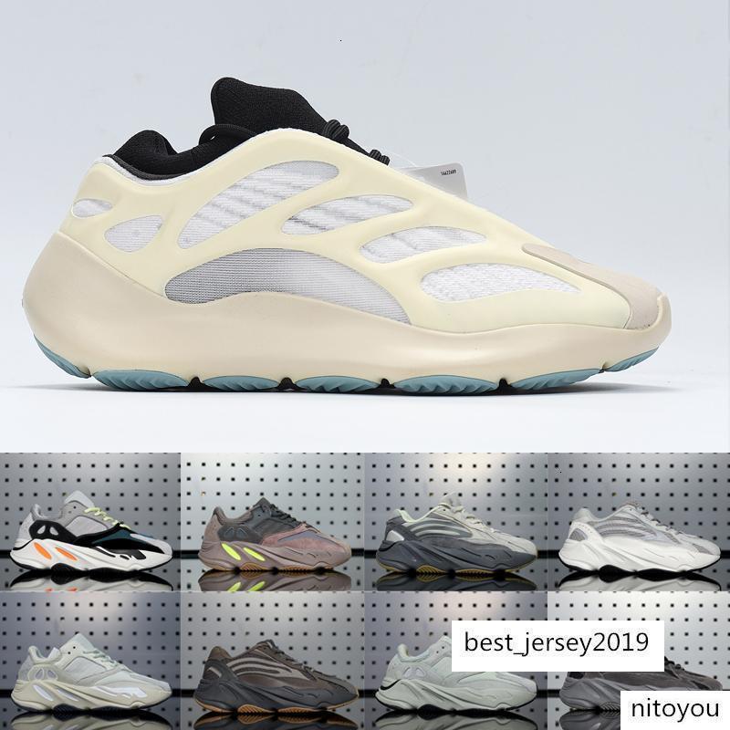 2020Kanye West-Glow 700 V3 In The Dark Alvah Azael Reflective Männer Frauen Laufschuhe Wave Runner V1 V2 Carbon-blaue Designer-Turnschuhe