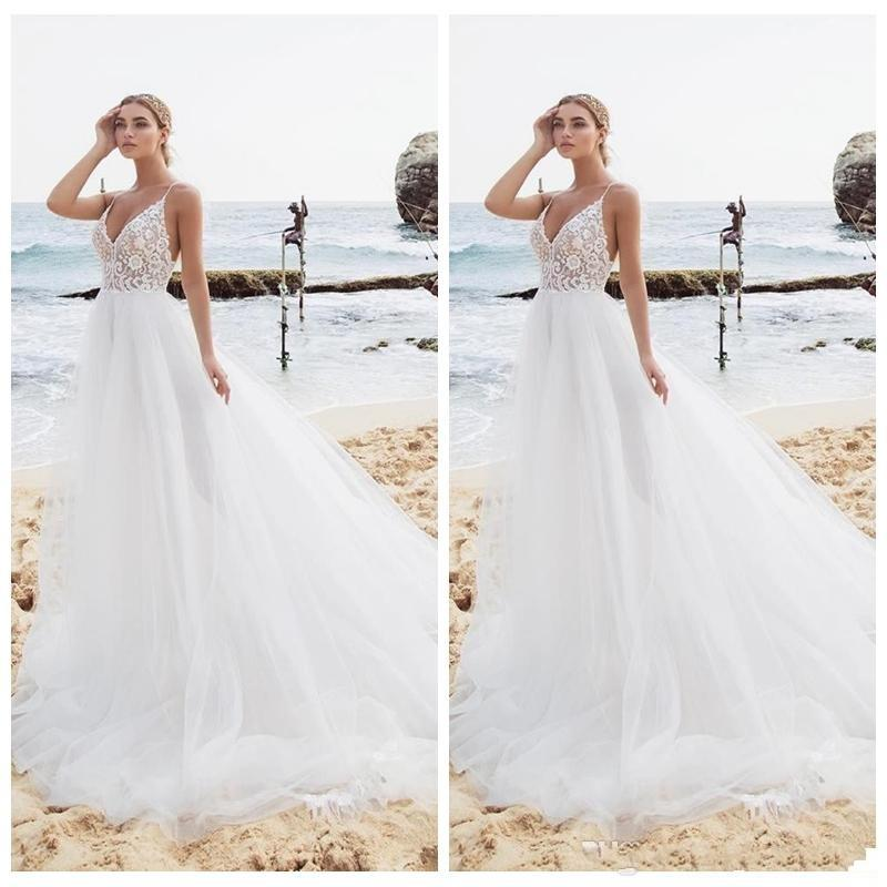 Discount Sexy Spaghetti Strips A Line Wedding Dresses Lace Top Beach Soft Tulle Bridal Gowns 2020 Spring Robe De Mariee A Line Formal Dresses A Line Wedding Dresses With Sleeves From Happylifewedding