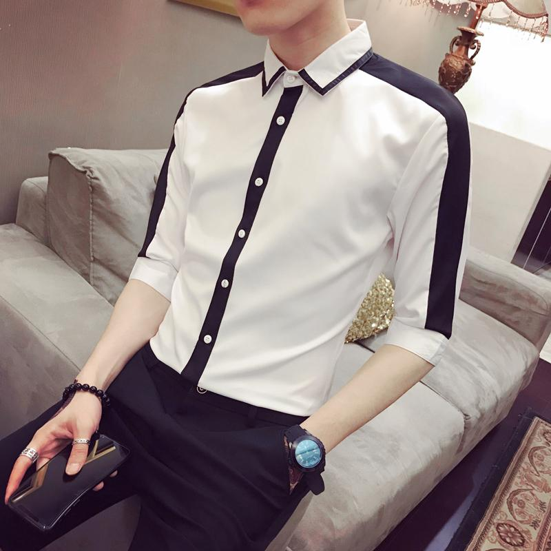 Мужские повседневные рубашки Slim Fit Мужская рубашка Camisa Masculina Contrast Color Летнее износ Tide Man Seven Wape Рукава Splice Hombre Black White