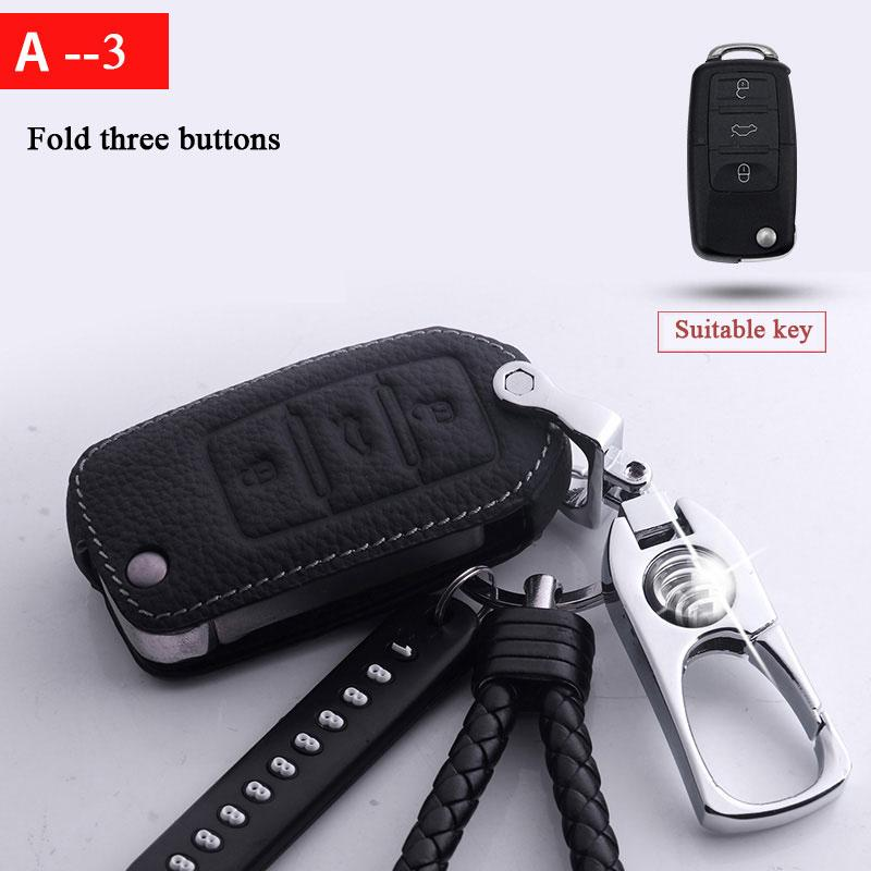 Titanium alloy leather car key cover case for Volkswagen polo passat golf 5 6 jetta tiguan Gol CrossFox Plus Beetle car styling