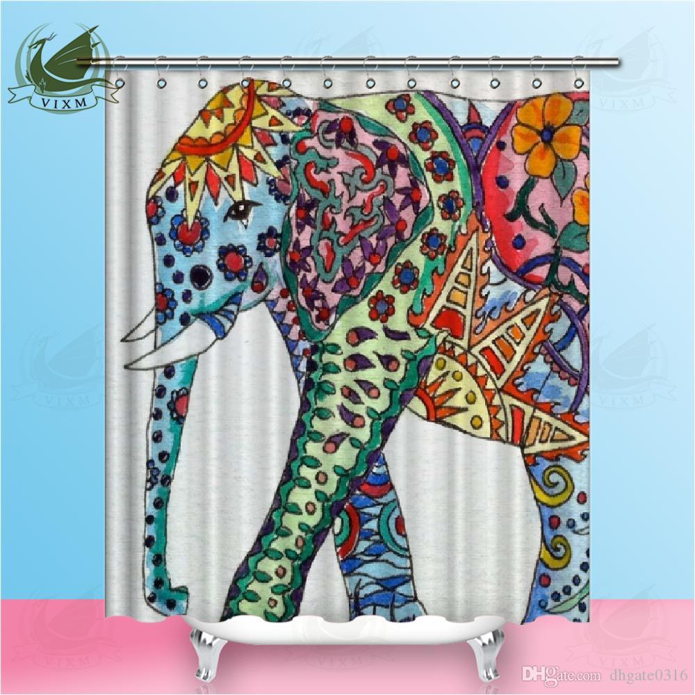 Vixm 3D Modern Elephant Printing Shower Curtain Waterproof Mildewproof Polyester Fabric Bath Curtain Bathroom Product