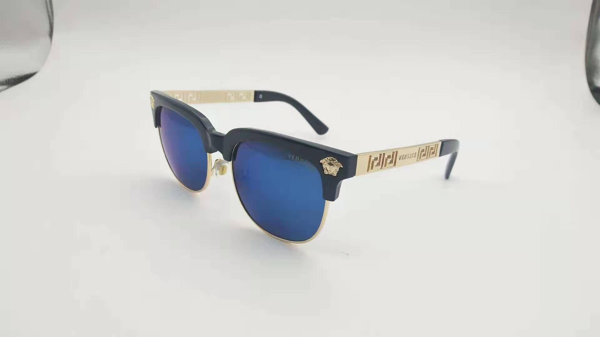 occhiali da sole di prova alla moda di lusso retrò uomo progettista lucido laser cornice d'oro logo donna di alta qualità con la confezione