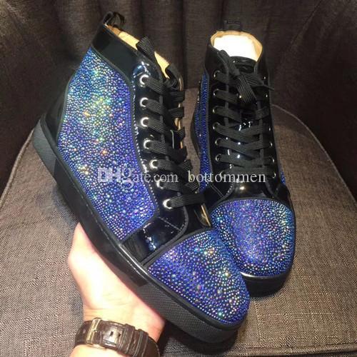 Идеальное качество Brand New High-top черная замша со стразами Strass Red Bottom Shoes мужские кроссовки с шипами досуг EU36-46
