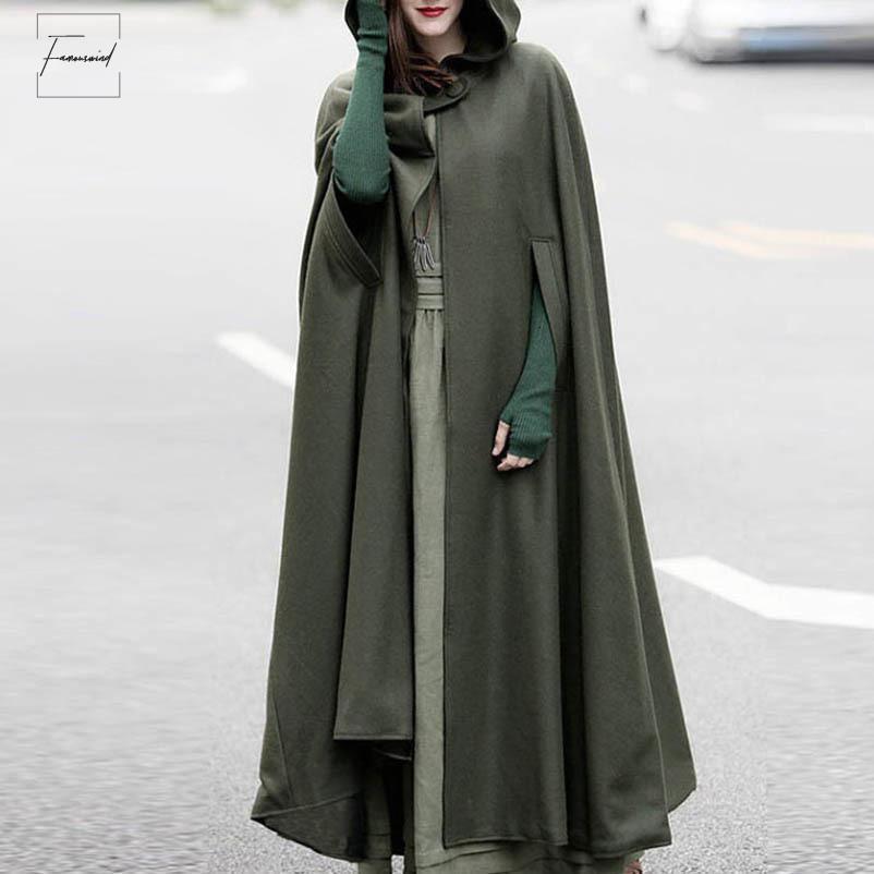 Brasão jaquetas capa com capuz Outono Brasão Medieval Quente vitoriana regular a longo Abrir ponto Plus Size Mulheres Cape Vintage gótico Poncho