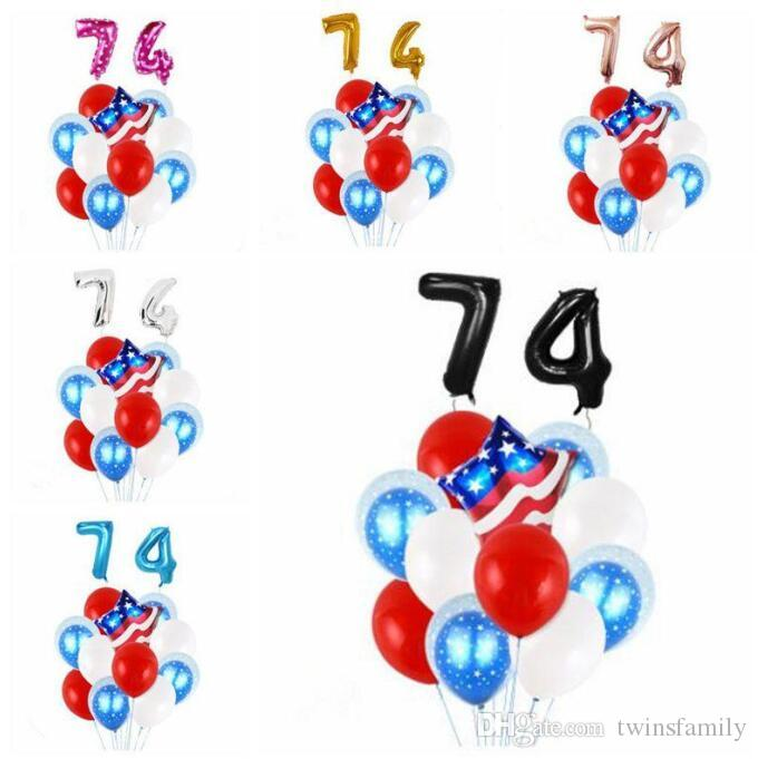 4. Juli Balloon USA Independence Day Dekoration Ballon-Set Latex Folienballon amerikanische Partydekoration Mode-Druck-Ballone C851