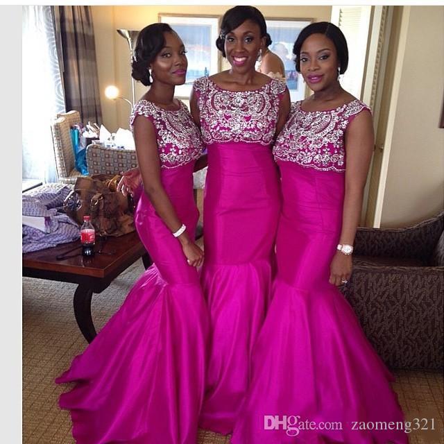 Charming Beaded Mermaid Bridesmaids Dresses Bateau Neck Sequined Wedding Guest Dress Floor Length Taffeta Maid Of Honor Gowns