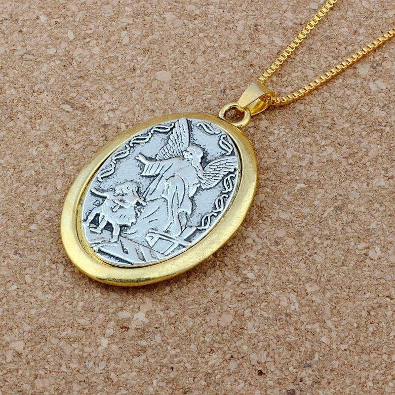 16 шт. / лот овальный двухцветный католический патрон Сан-Михаил Архангел медаль религиозный кулон ожерелья 23.6 дюймов 31x47. 5mm кулон A-548d