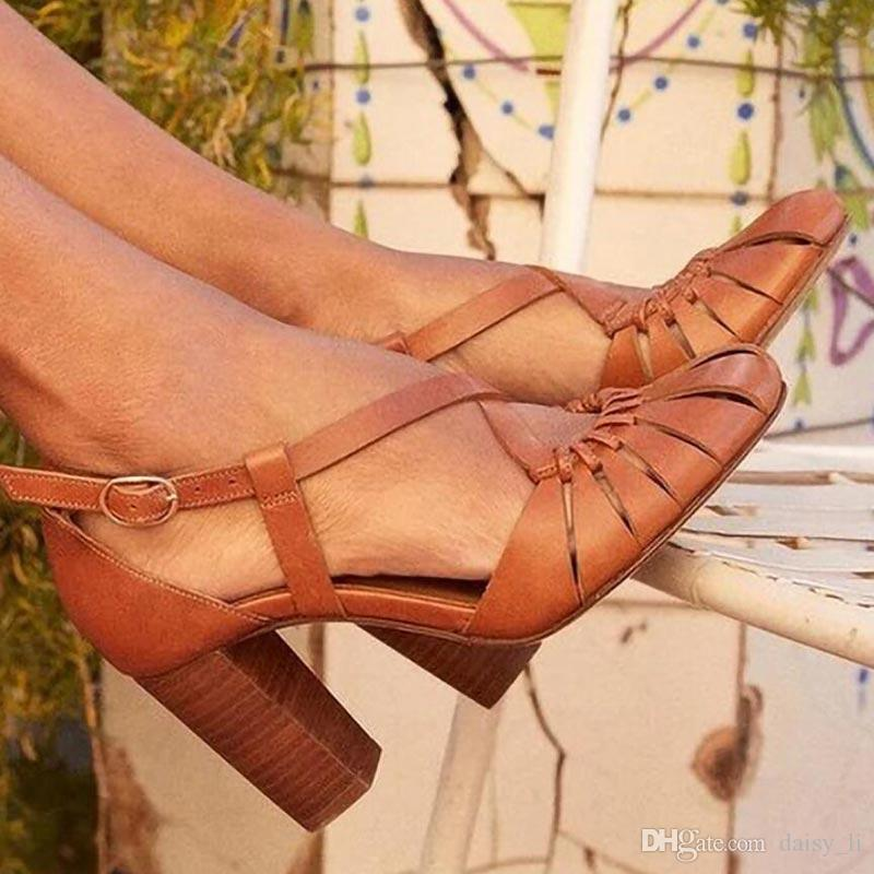 جولة النساء تو الكعوب العالية الصنادل ساحة سيدة الكاحل الإبزيم تغطية الشريط صنادل كعب 2020 أحذية الصيف الرجال الحزب بالاضافة الى حجم 43 # 16 M201