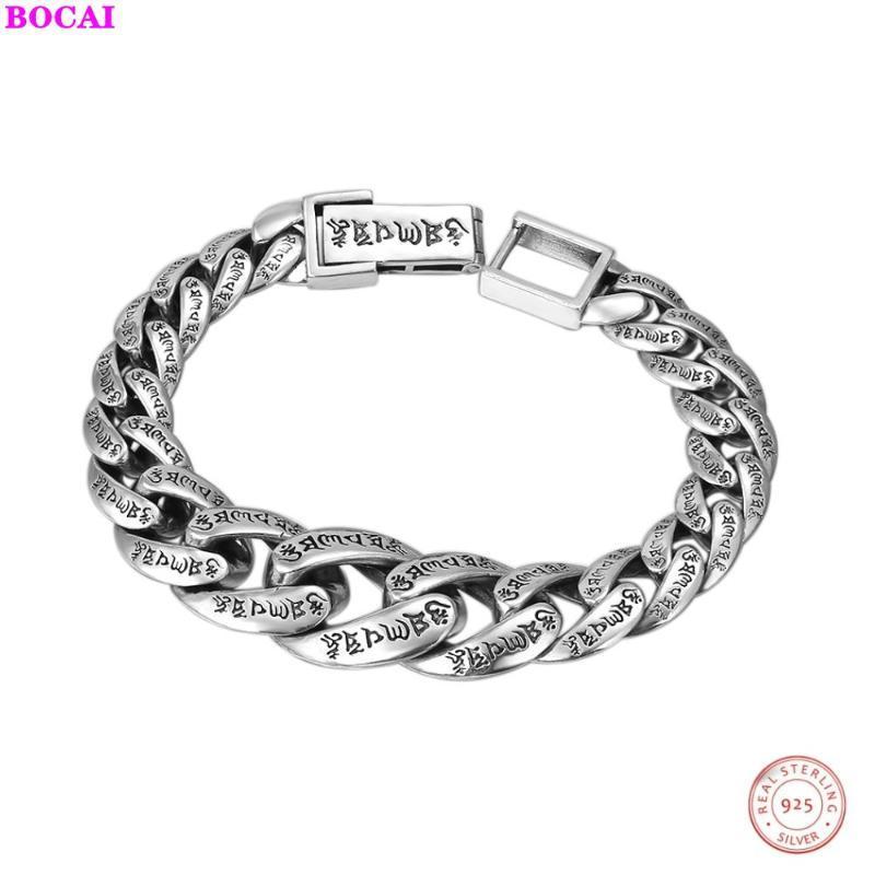 BOCAI S925 pulseira de prata Sterling para homens pulso ornamento personalidade clássico verdade seis personagem masculino tailandês prata Bracelet