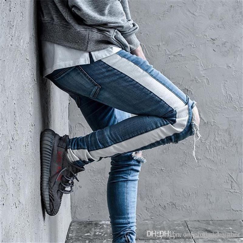 Designer Vintage Hommes Jeans Mode Ripped lambrissé Ruban Slim braguette Mid taille Jeans Street Fashion Pantalons Hommes