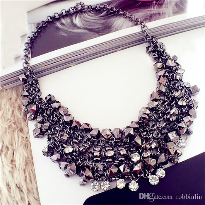 NABROJ Splendida collana girocollo in cristallo con nappa, collana girocollo da donna, collana nera, bigiotteria per regalo di festa 1 pz