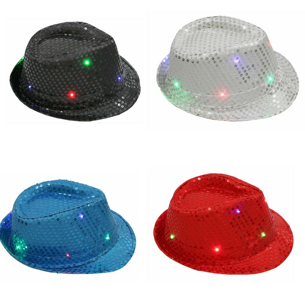Child LED Sequin Trilby Hat Light Up Flashing Jazz Kids Dance Gangster Costume