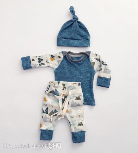 Newborn Ins 3pcs / set Set di abbigliamento shirt Primavera Autunno della neonata Boy manica lunga Pantaloni Cappello attrezzatura casuale Size70-100 Carino Suit
