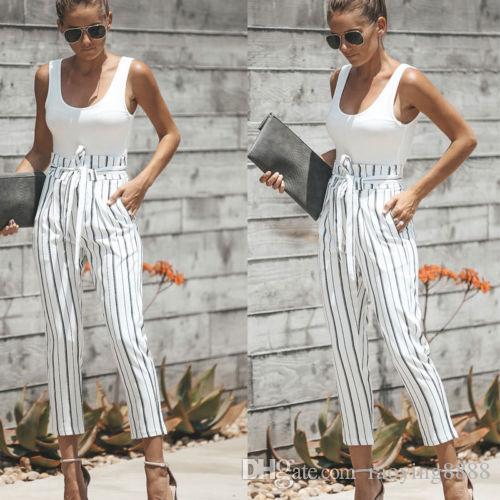 Новое лето Модные Женская одежда повседневная Высокая Талия повязка широкие брюки карман хлопок полосатые брюки один штук