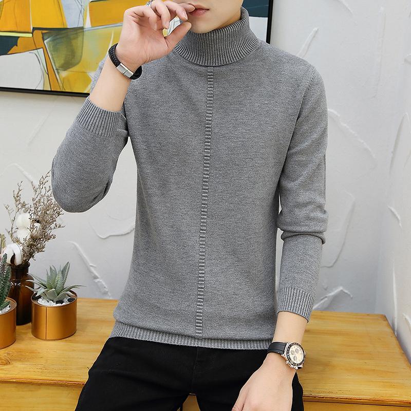 HAYBLST Марка Мужчины свитер 2019 осень зима вскользь Tops корейский Solid Plus Размер 3XL Мужчины Высокий воротник с длинным рукавом одежды