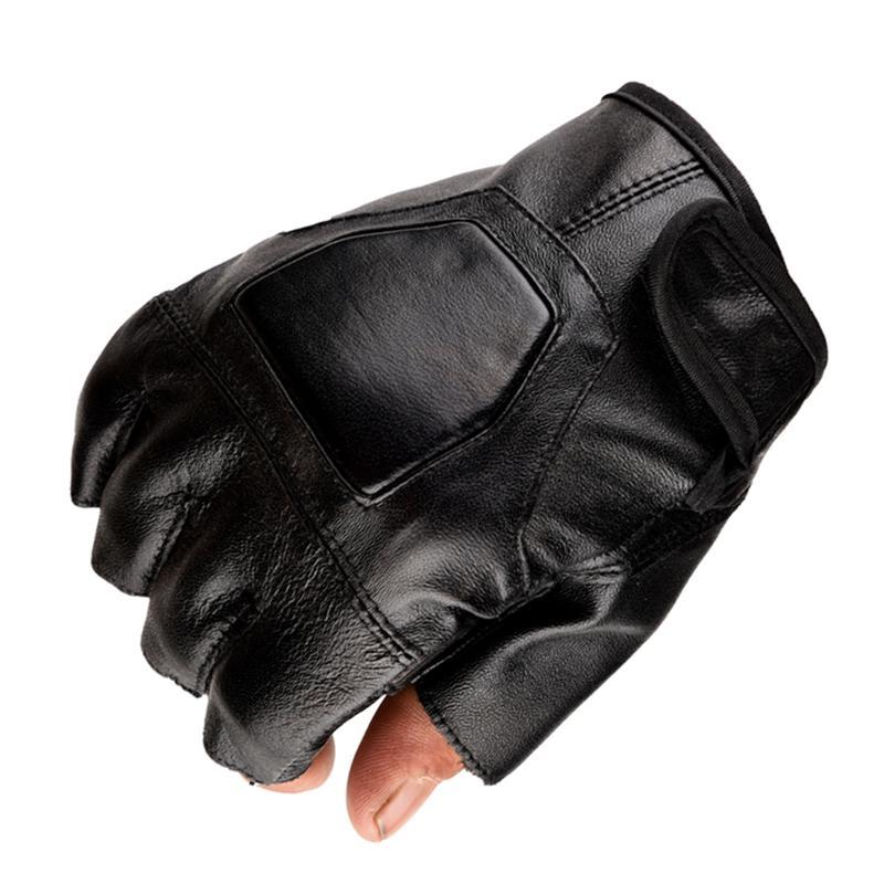 Leather Glove adulto unisex senza dita PU 2 Pezzi Uomini Guanti senza dita polso Half Finger