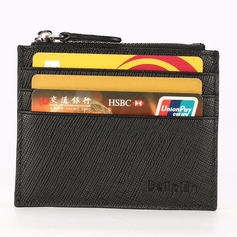 Benutzerdefinierte Querkornleder Reißverschluss Kartenbeutel Männer und Frauen geben ultradünnen Bildschirmen mehr Bankkartenbeutel Leder-Geldbörse Null