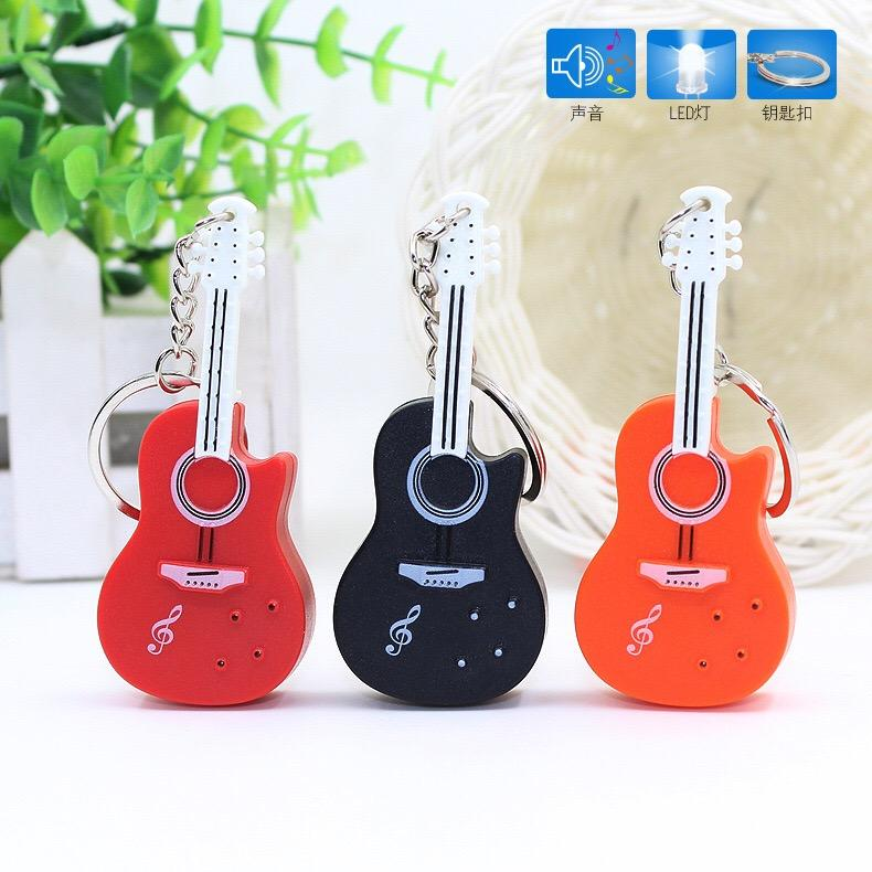 100pcs/lot New LED Guitar Key Chains Guitar Keychains with Sound and Light Music Gifts Guitar Keyrings