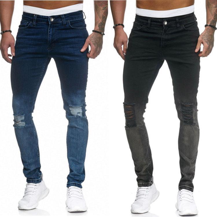 2 cores sólidas Cor Skinny Jeans Buraco New Mens Jeans Lavado Slim-fit jeans stretch Hip Hop calças lápis calças para Male