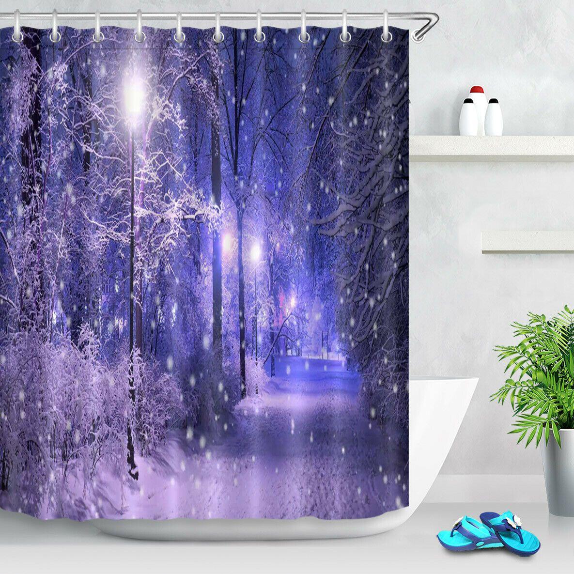 2019 Purple Night Street Light Snowflake Durable Fabric Mold Proof Bathroom Pendant Creative With 12 Hooks 180x180cm From Jackdaine 22 02