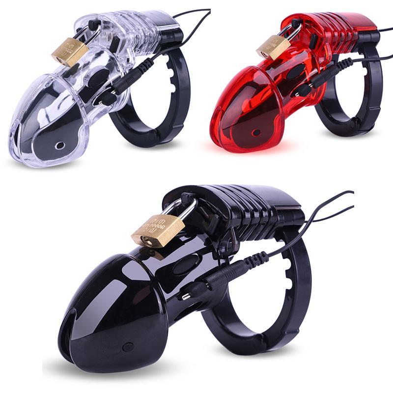 CB6000 Chastity Appareil Electro Sex Cock Cage mâle Locks avec stimulation électrique réglable Penis Ring Stimulateur Sex Toys Accessoires