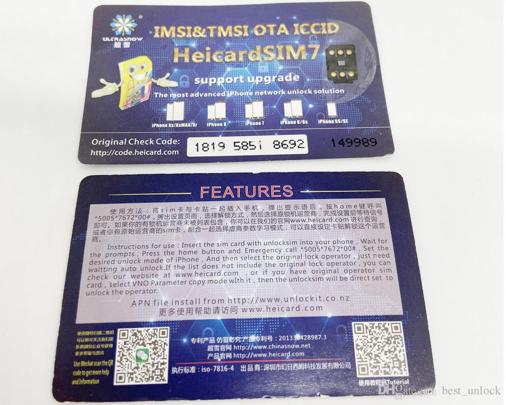 Бесплатная доставка новый оригинальный Chinasnow Heicard V1. 37 HeicardSIM7 для iP6-X с ICCID Perfect Unlock Sim-карты Turbo Sim Gevey Pro